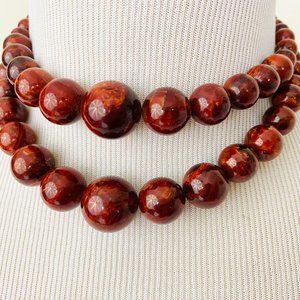 Vintage 1950s 1960s Chunky Bead 2-Strand Necklace